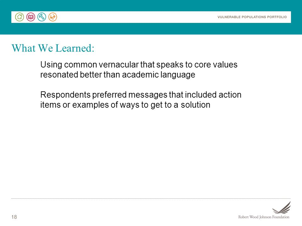 What We Learned: Using common vernacular that speaks to core values resonated better than academic language.