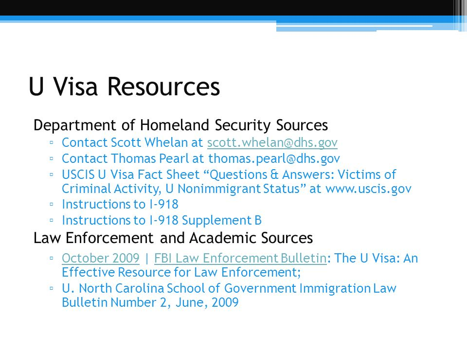 U Visa Resources Department of Homeland Security Sources