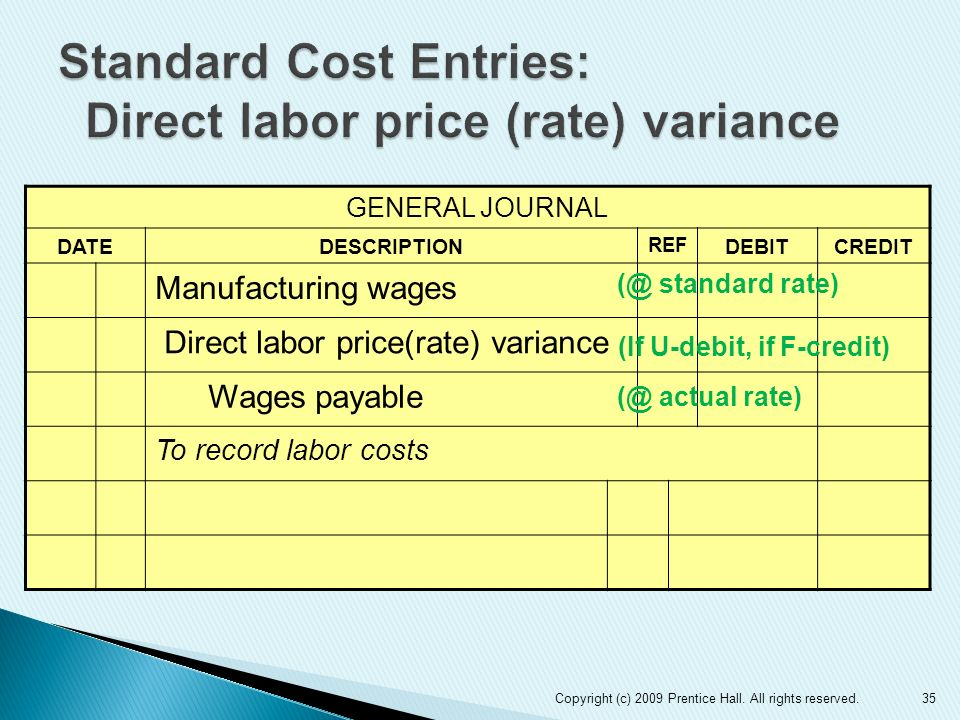 Standard Cost Entries: Direct labor price (rate) variance