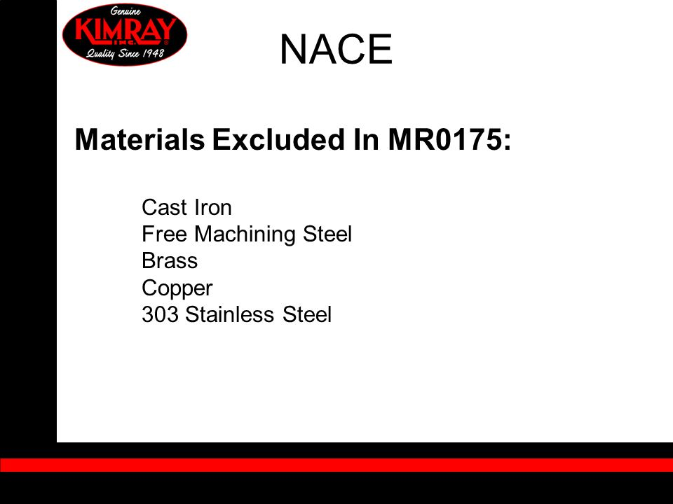 NACE Materials Excluded In MR0175: Free Machining Steel Brass Copper
