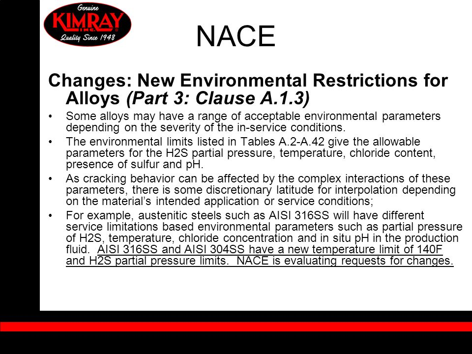 NACE Changes: New Environmental Restrictions for Alloys (Part 3: Clause A.1.3)