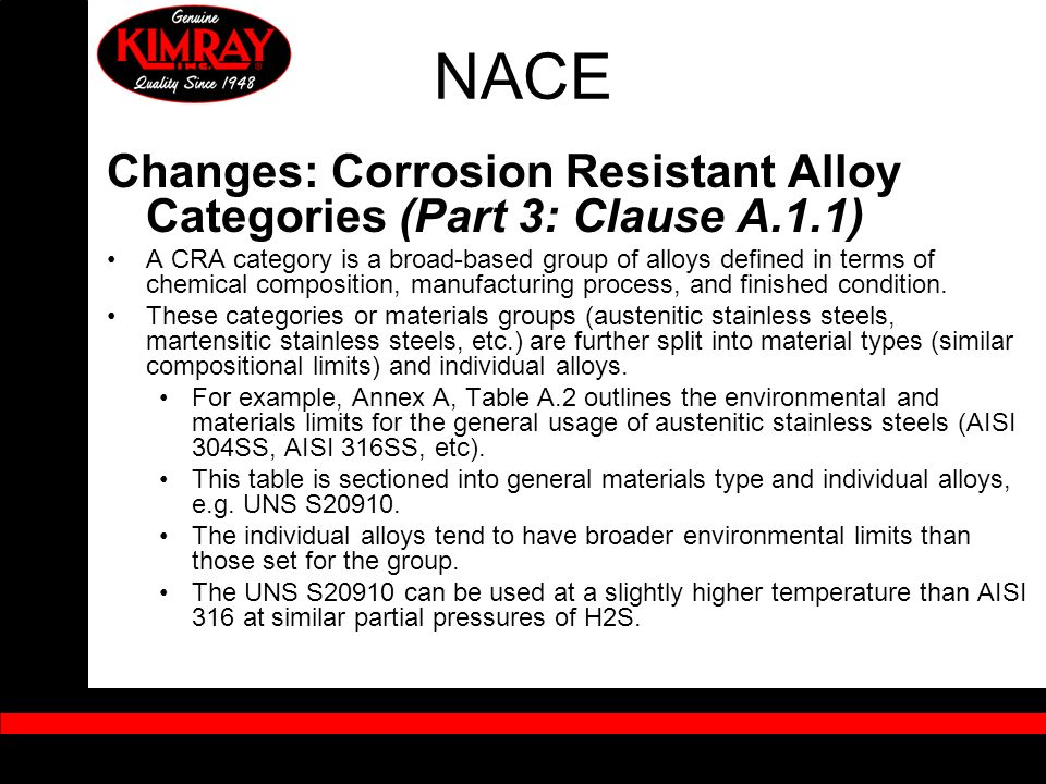 NACE Changes: Corrosion Resistant Alloy Categories (Part 3: Clause A.1.1)