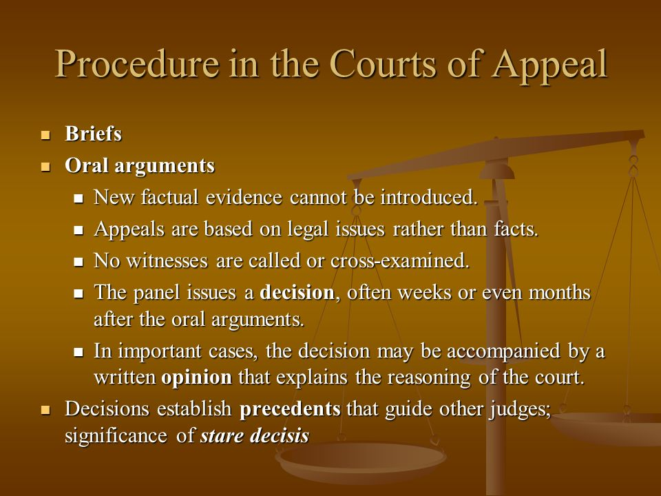 Procedure in the Courts of Appeal