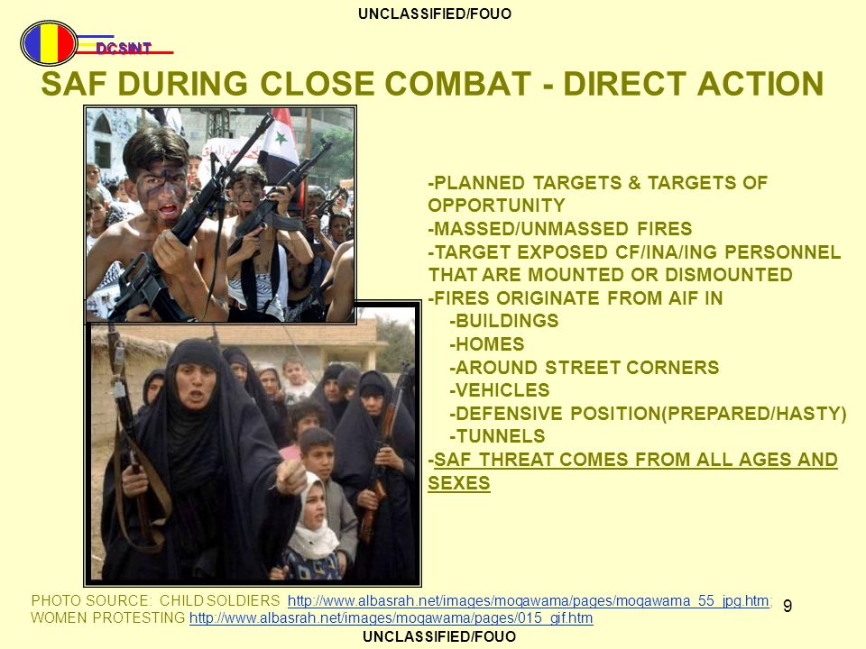 SAF DURING CLOSE COMBAT - DIRECT ACTION