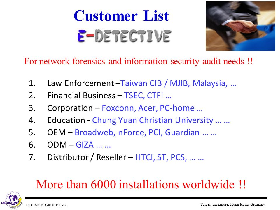 Customer List More than 6000 installations worldwide !!