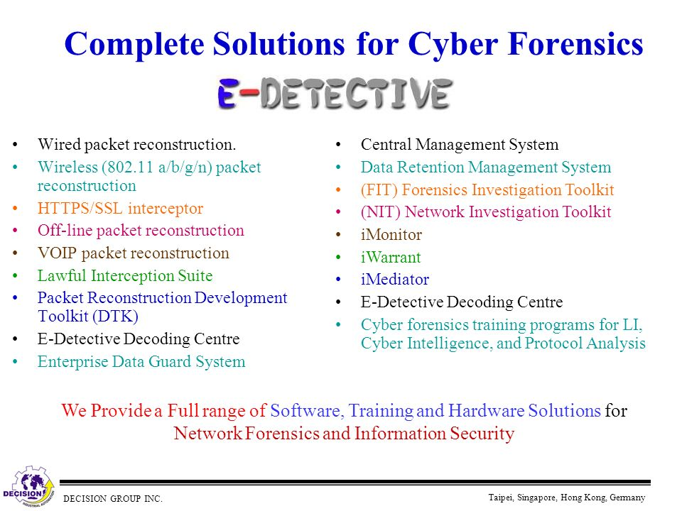 Complete Solutions for Cyber Forensics