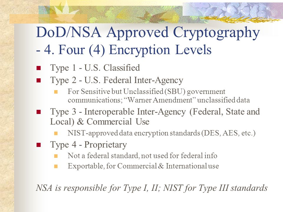 DoD/NSA Approved Cryptography - 4. Four (4) Encryption Levels