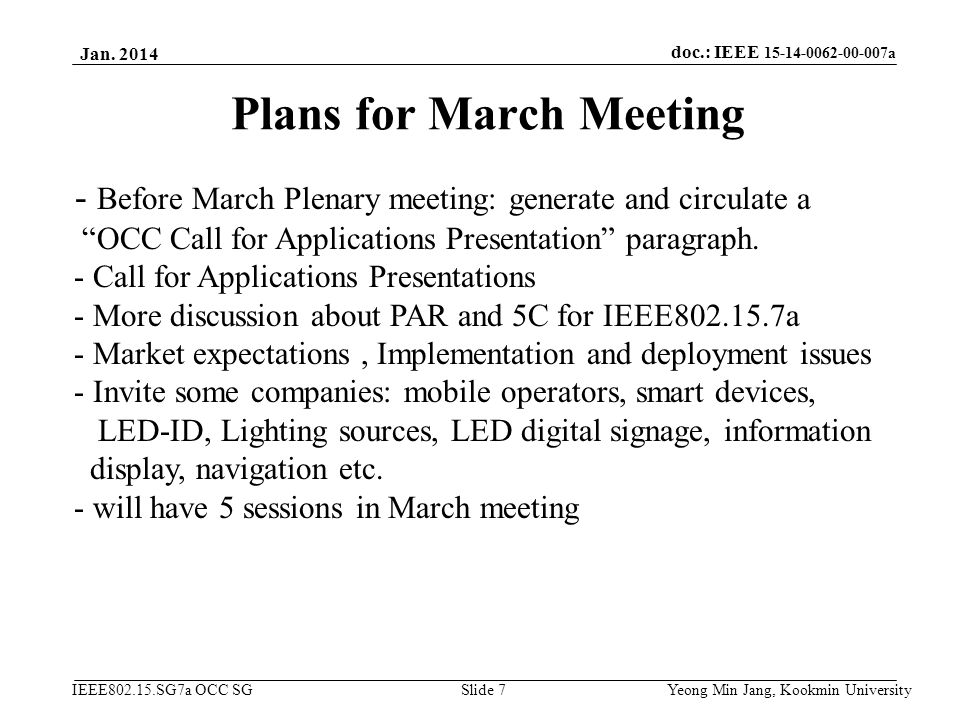 Plans for March Meeting