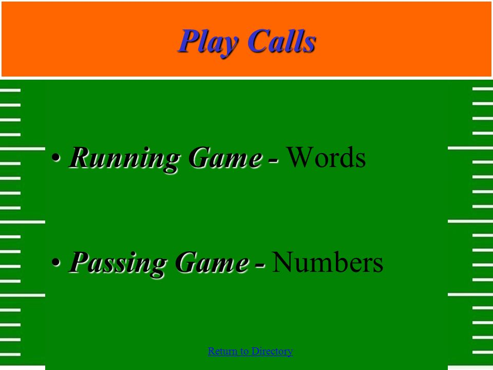 Play Calls Running Game - Words Passing Game - Numbers