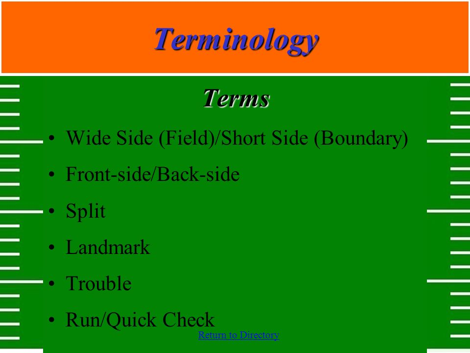 Terminology Terms Wide Side (Field)/Short Side (Boundary)