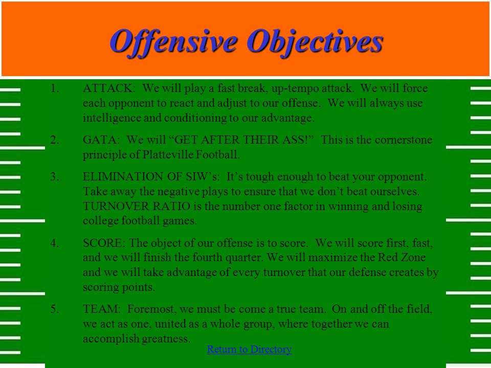 Offensive Objectives
