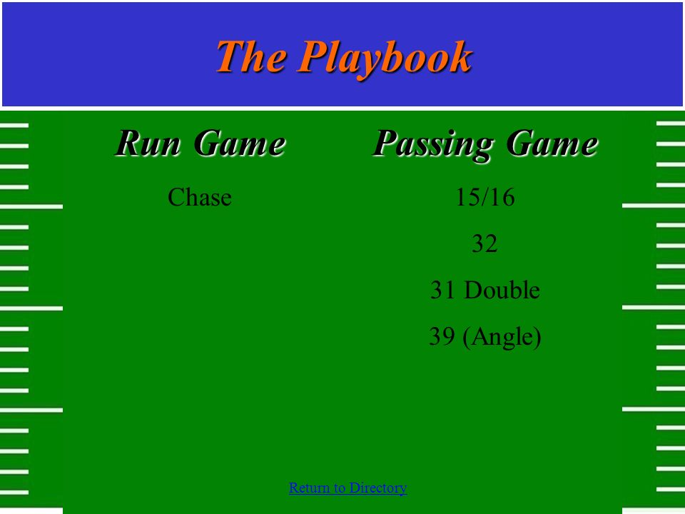 The Playbook Run Game Chase Passing Game 15/16 32 31 Double 39 (Angle)