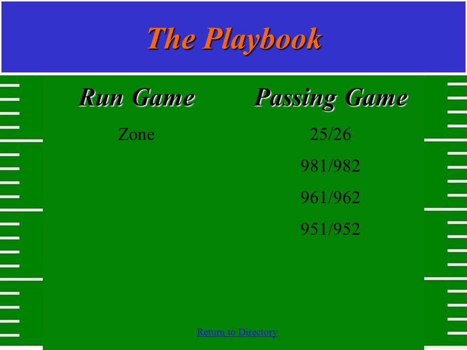 The Playbook Run Game Zone Passing Game 25/26 981/982 961/962 951/952