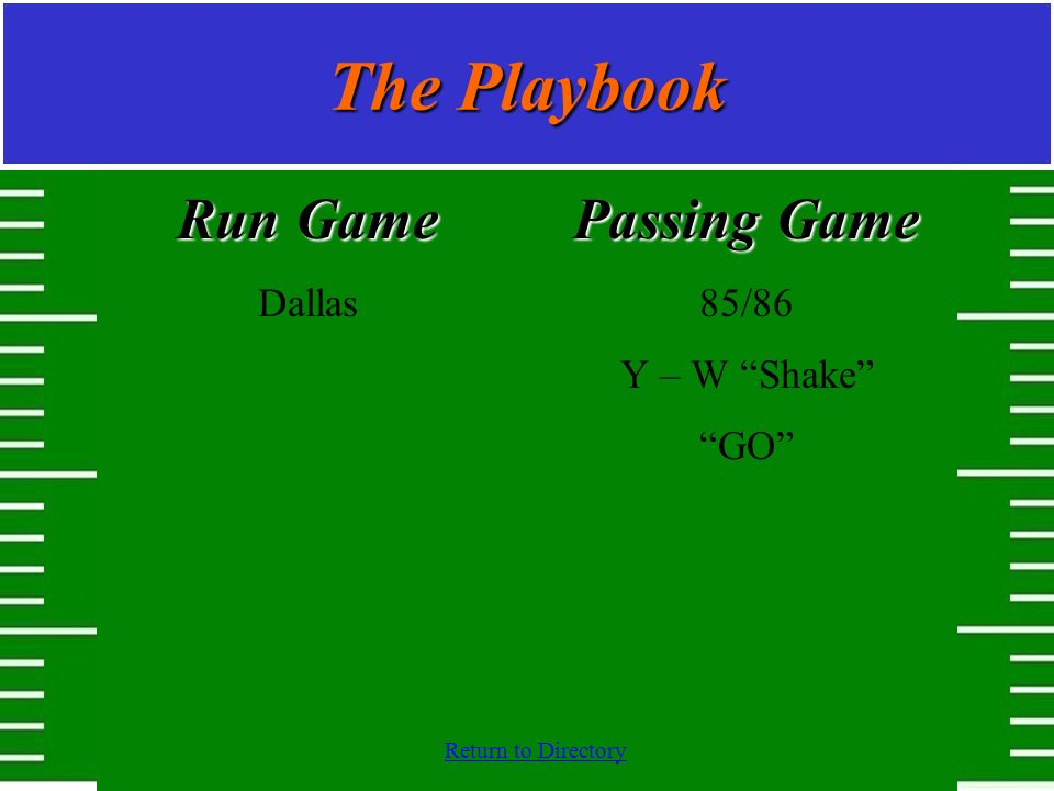 The Playbook Run Game Dallas Passing Game 85/86 Y – W Shake GO