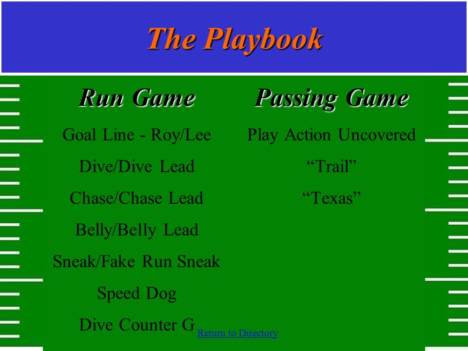 The Playbook Run Game Passing Game Goal Line - Roy/Lee Dive/Dive Lead