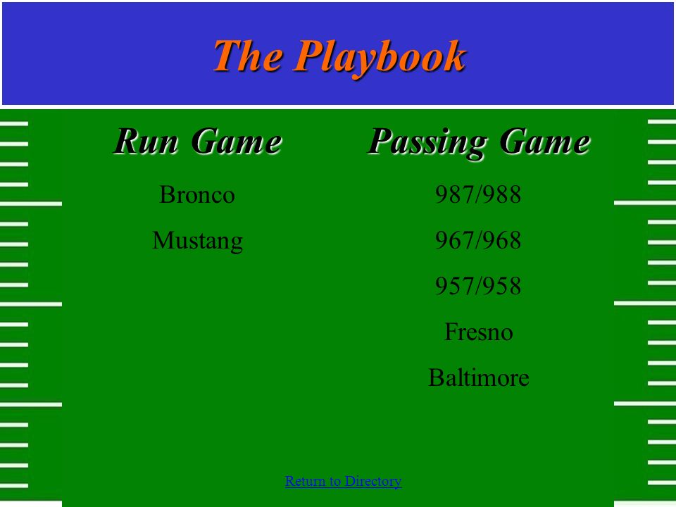 The Playbook Run Game Passing Game Bronco Mustang 987/988 967/968
