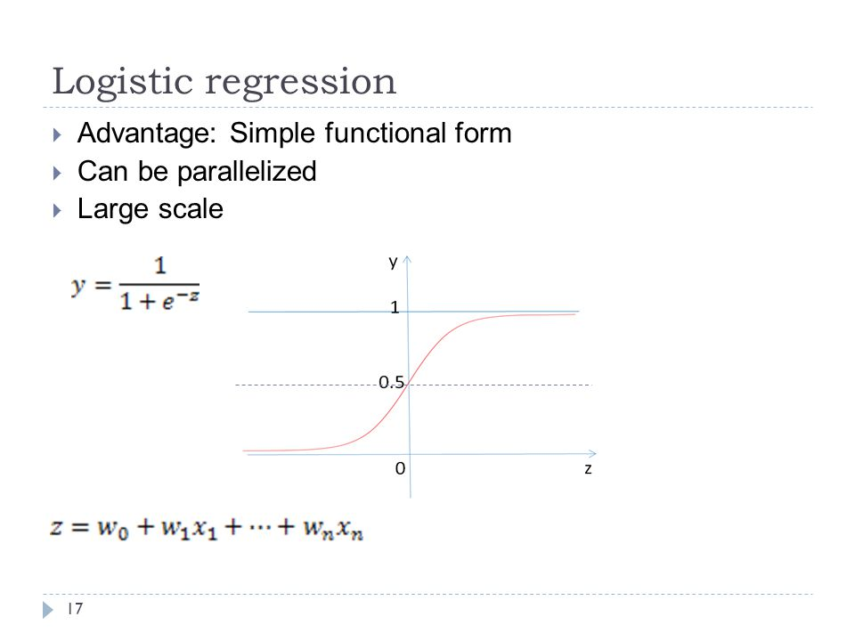 Logistic regression Advantage: Simple functional form