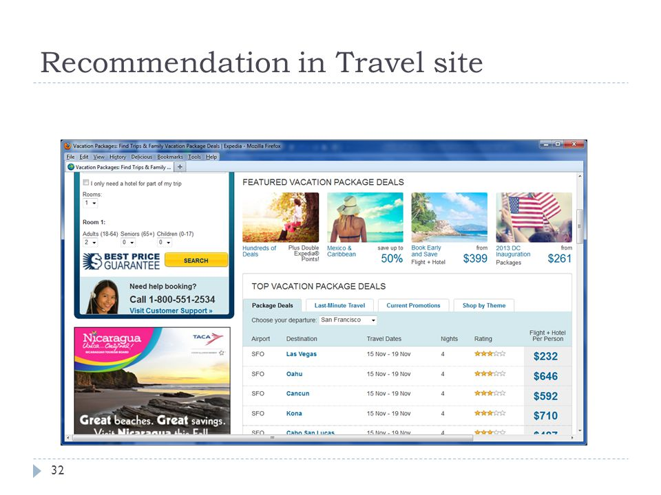 Recommendation in Travel site
