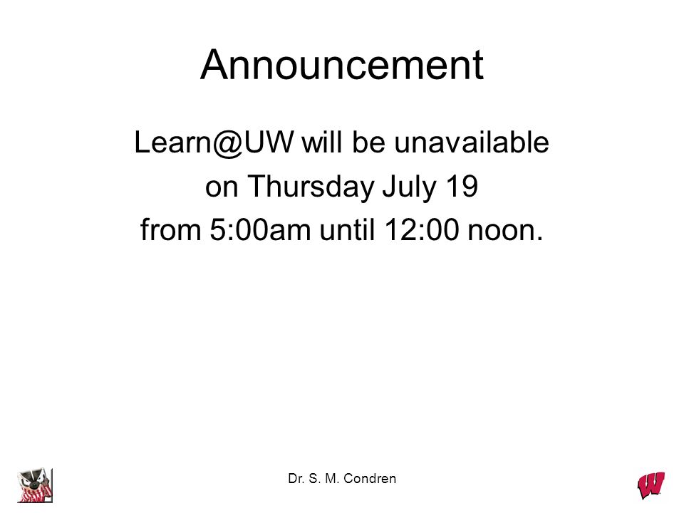 Learn@UW will be unavailable