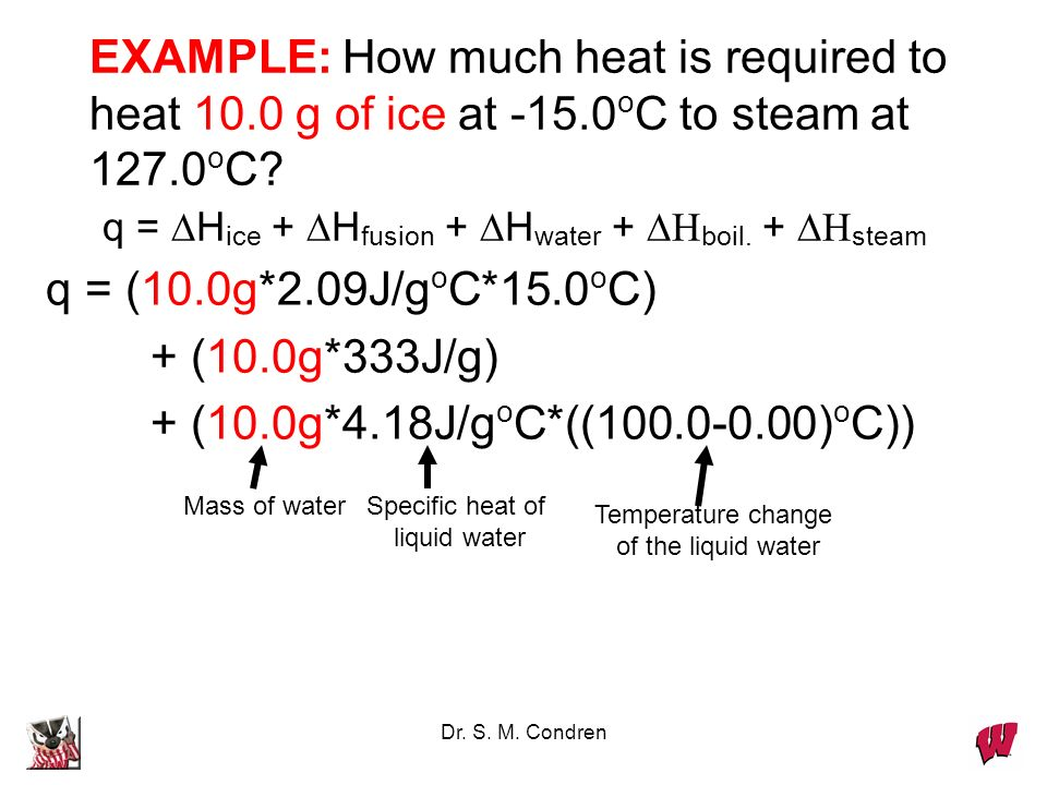 EXAMPLE: How much heat is required to heat g of ice at -15