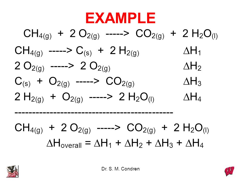 EXAMPLE CH4(g) + 2 O2(g) -----> CO2(g) + 2 H2O(l)