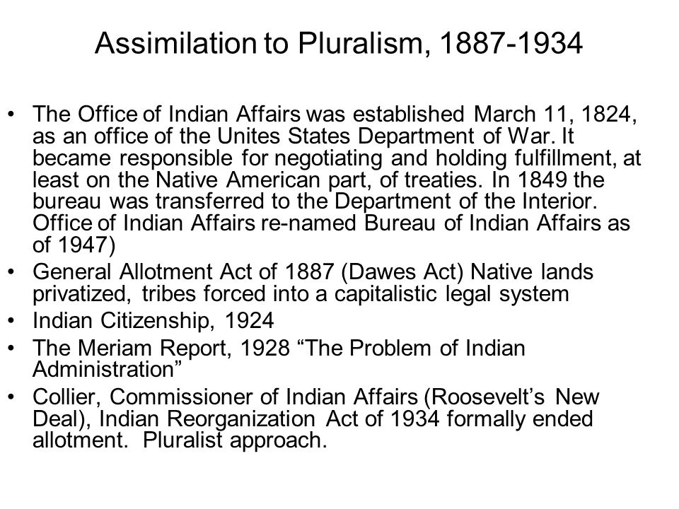 Assimilation to Pluralism,