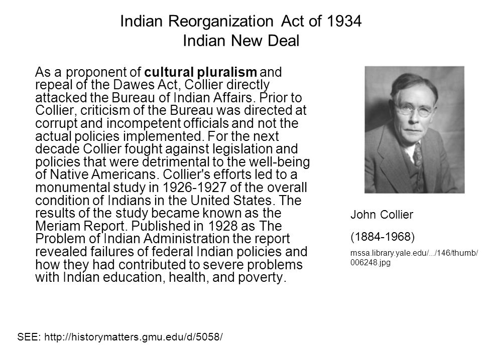 Indian Reorganization Act of 1934 Indian New Deal