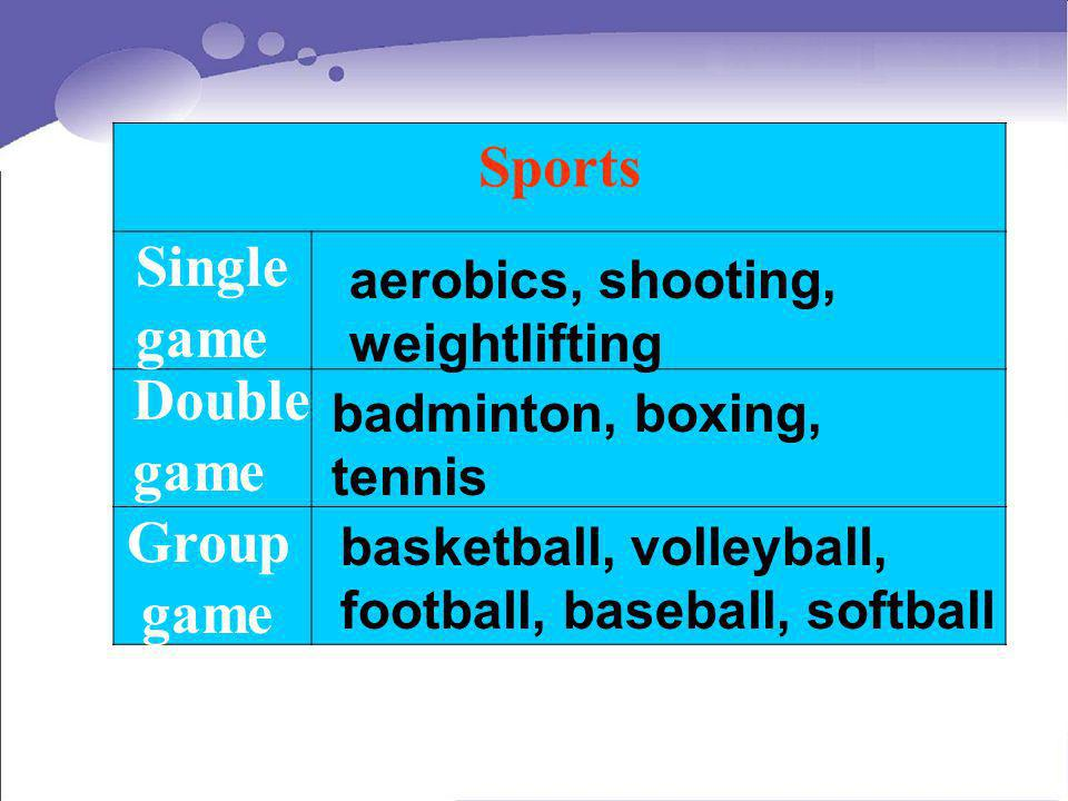 Sports Single game Double game Group game