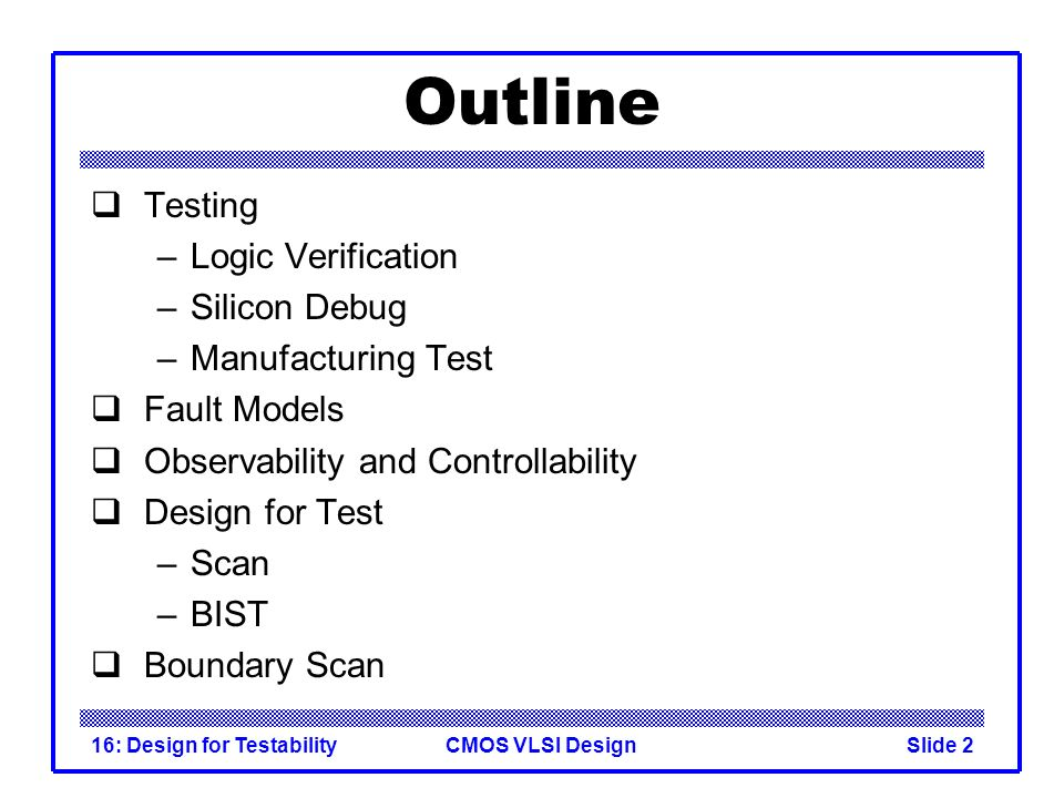 Outline Testing Logic Verification Silicon Debug Manufacturing Test