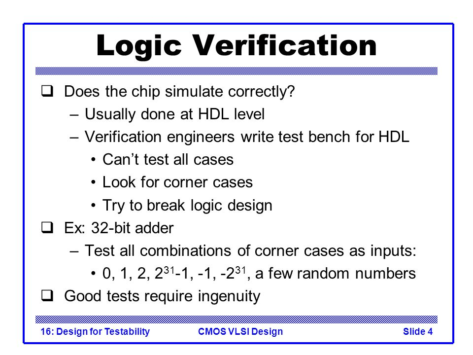 Logic Verification Does the chip simulate correctly