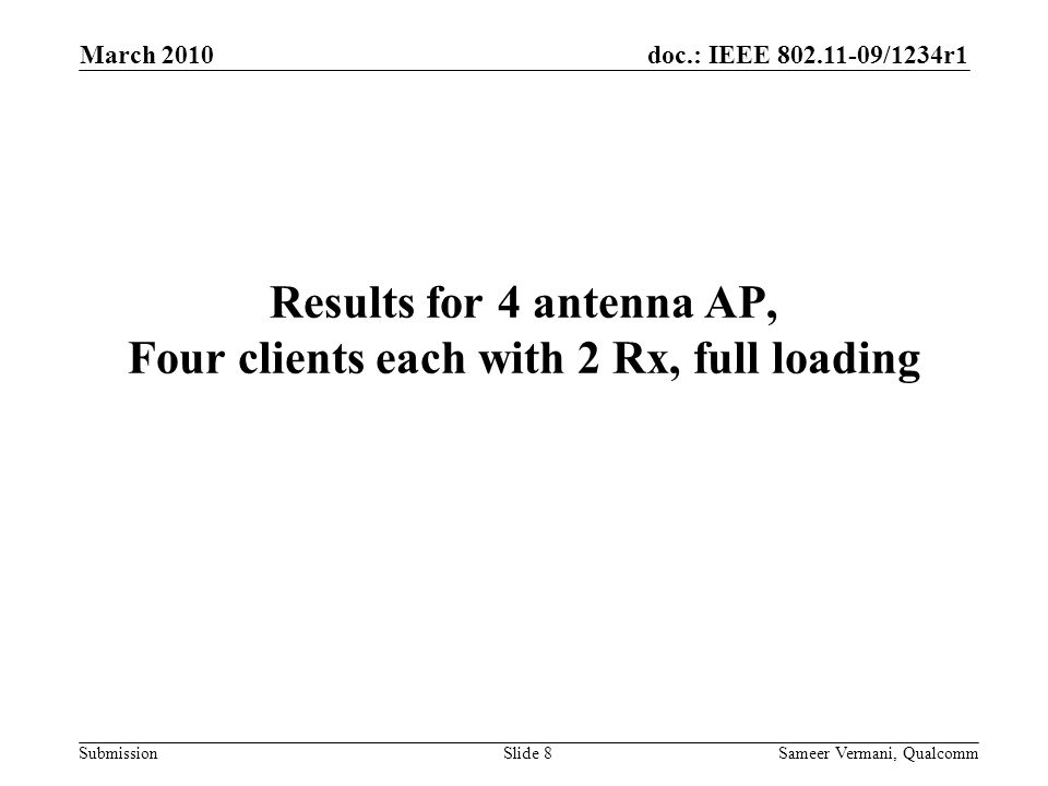 Results for 4 antenna AP, Four clients each with 2 Rx, full loading