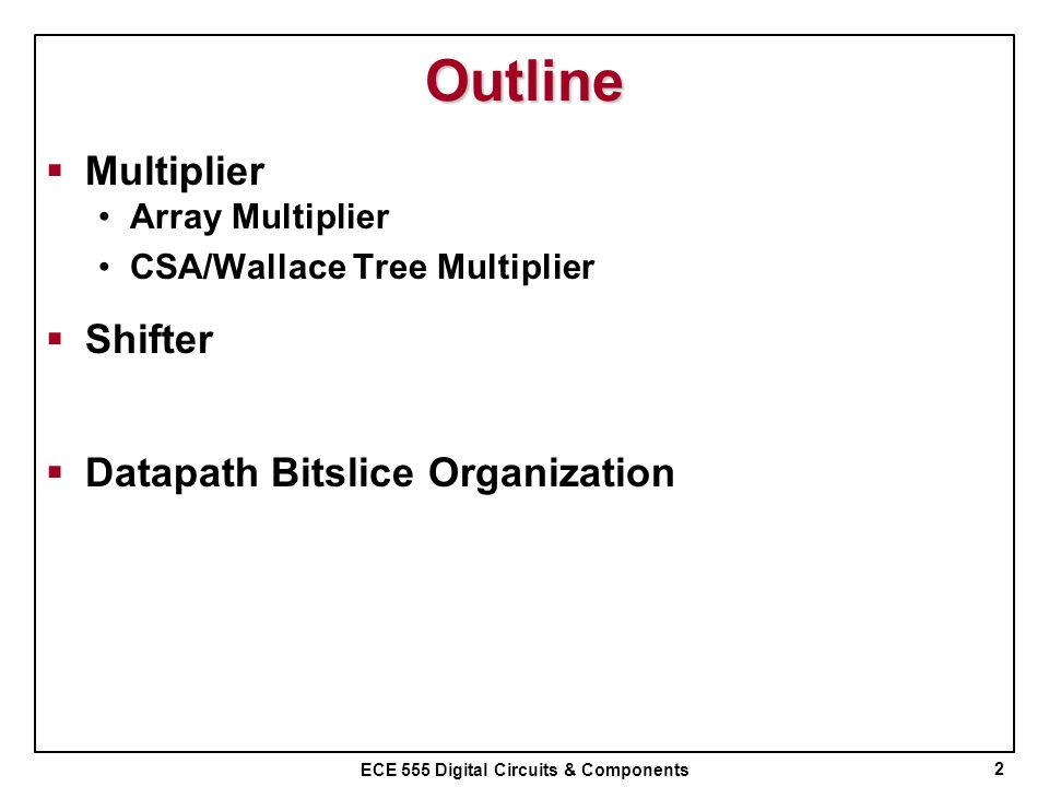 Outline Multiplier Shifter Datapath Bitslice Organization