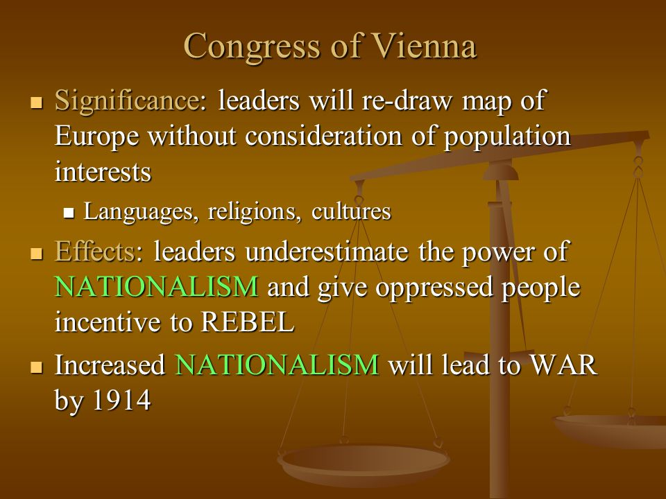Congress of Vienna Significance: leaders will re-draw map of Europe without consideration of population interests.