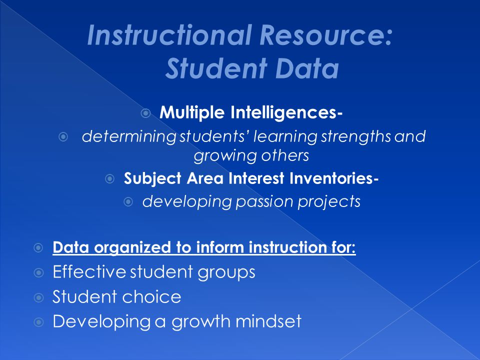 Instructional Resource: Student Data