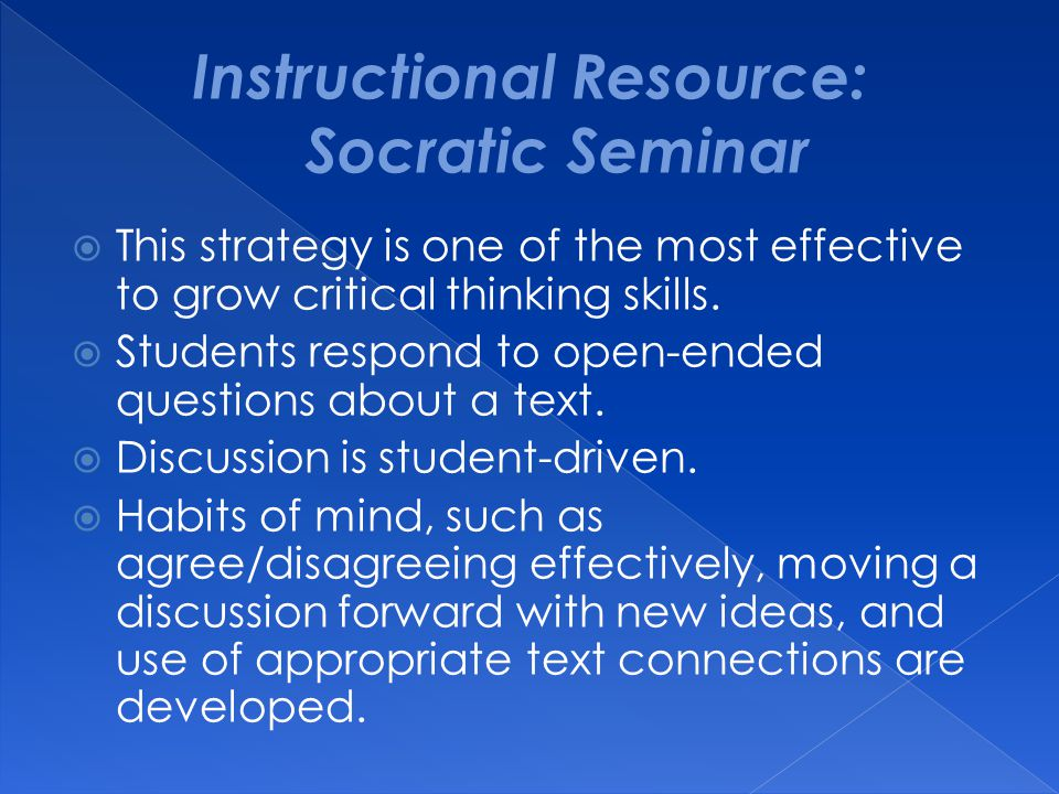 Instructional Resource: Socratic Seminar