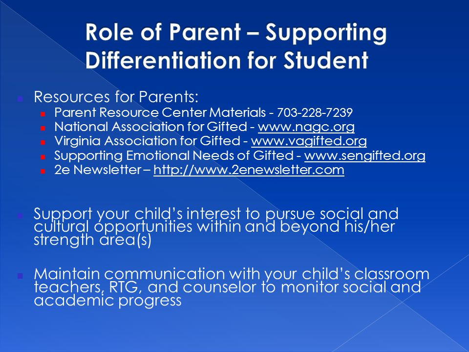 Role of Parent – Supporting Differentiation for Student