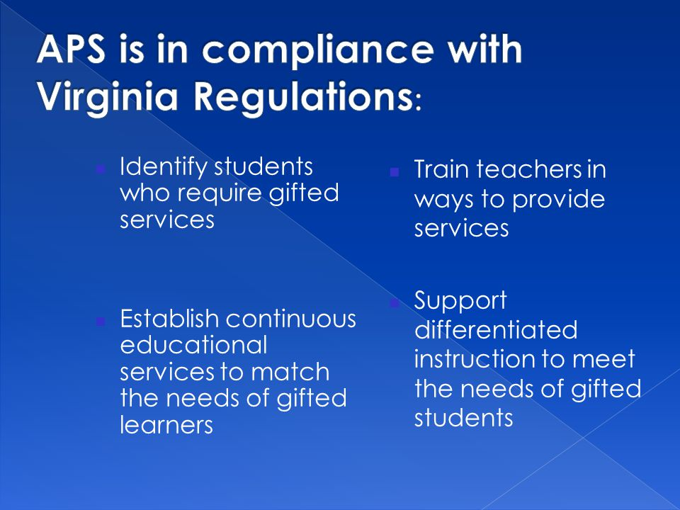 APS is in compliance with Virginia Regulations: