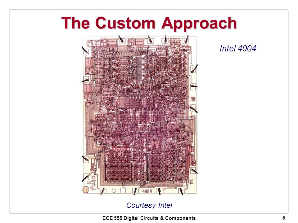 The Custom Approach Intel 4004 Courtesy Intel