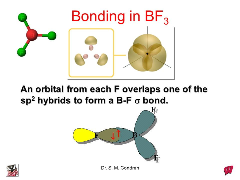 Bonding in BF3 An orbital from each F overlaps one of the sp2 hybrids to form a B-F  bond.
