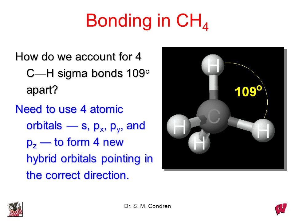 Bonding in CH4 How do we account for 4 C—H sigma bonds 109o apart