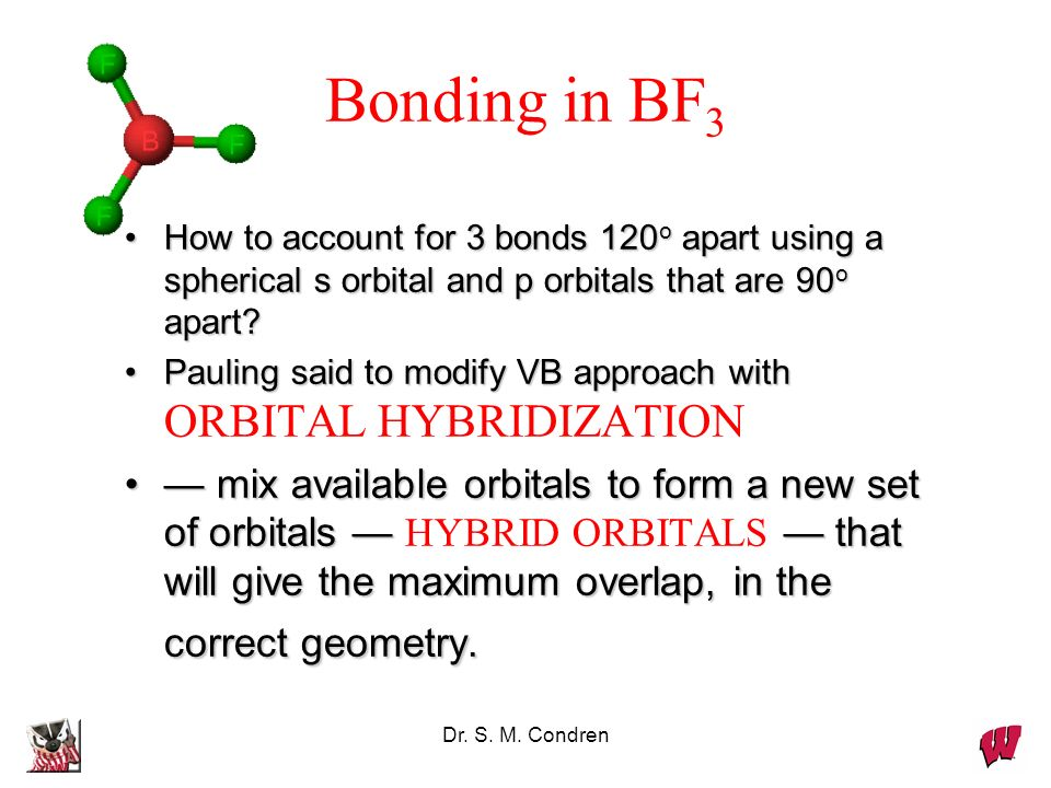 Bonding in BF3 How to account for 3 bonds 120o apart using a spherical s orbital and p orbitals that are 90o apart