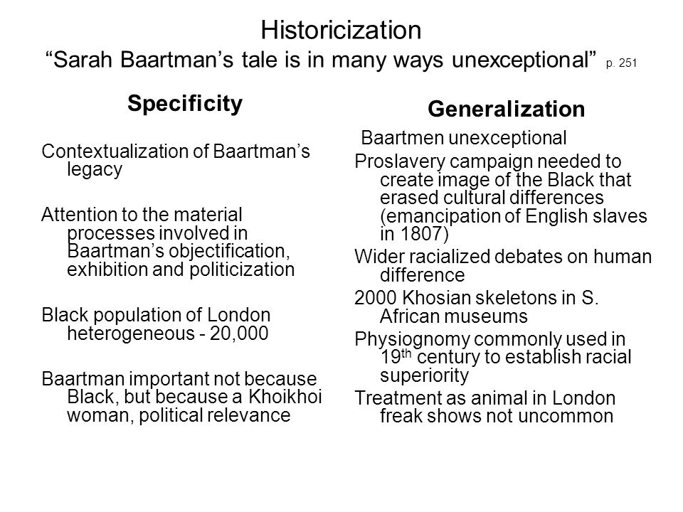 Historicization Sarah Baartman's tale is in many ways unexceptional p. 251
