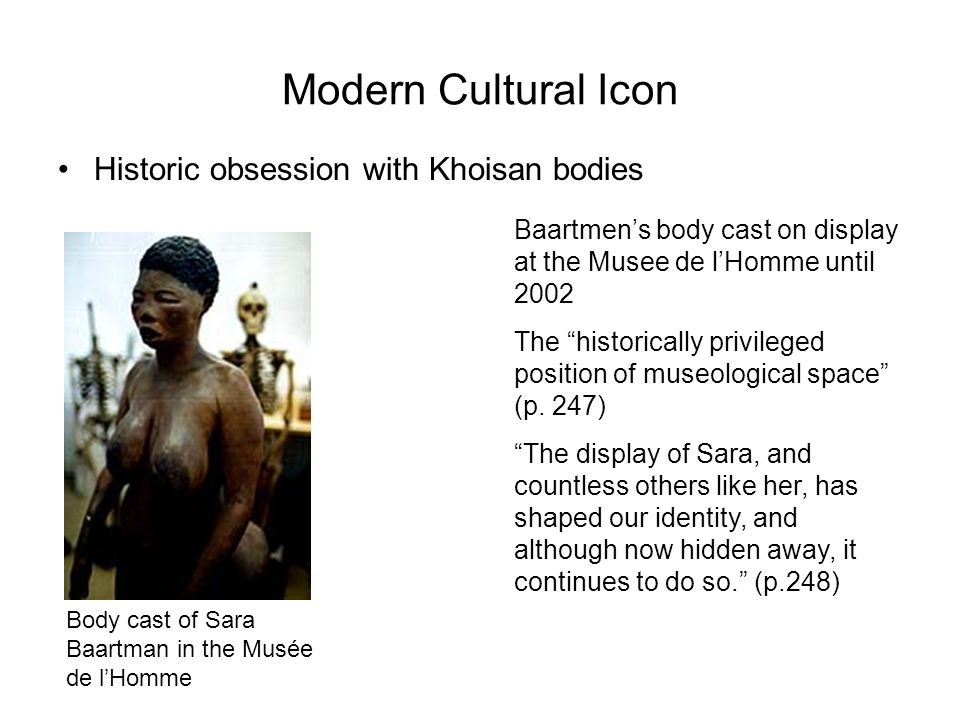 Modern Cultural Icon Historic obsession with Khoisan bodies
