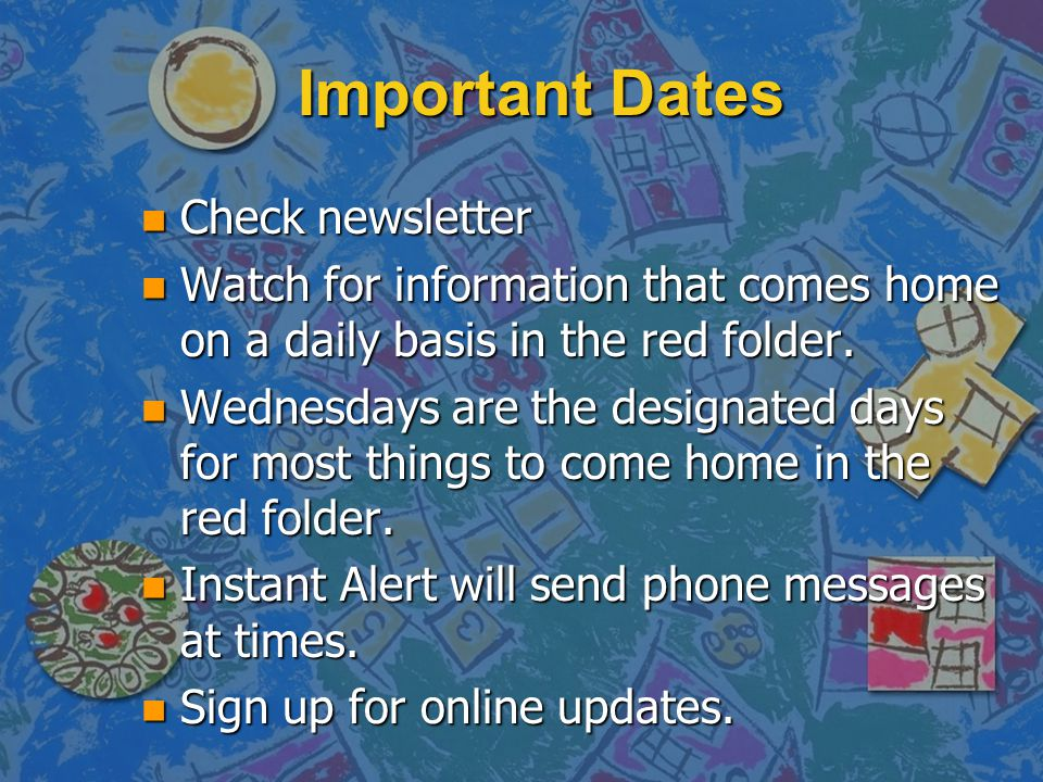 Important Dates Check newsletter