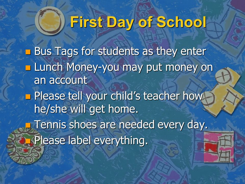 First Day of School Bus Tags for students as they enter