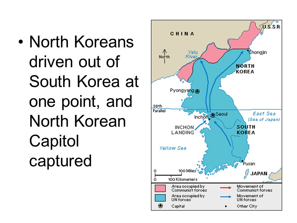 North Koreans driven out of South Korea at one point, and North Korean Capitol captured