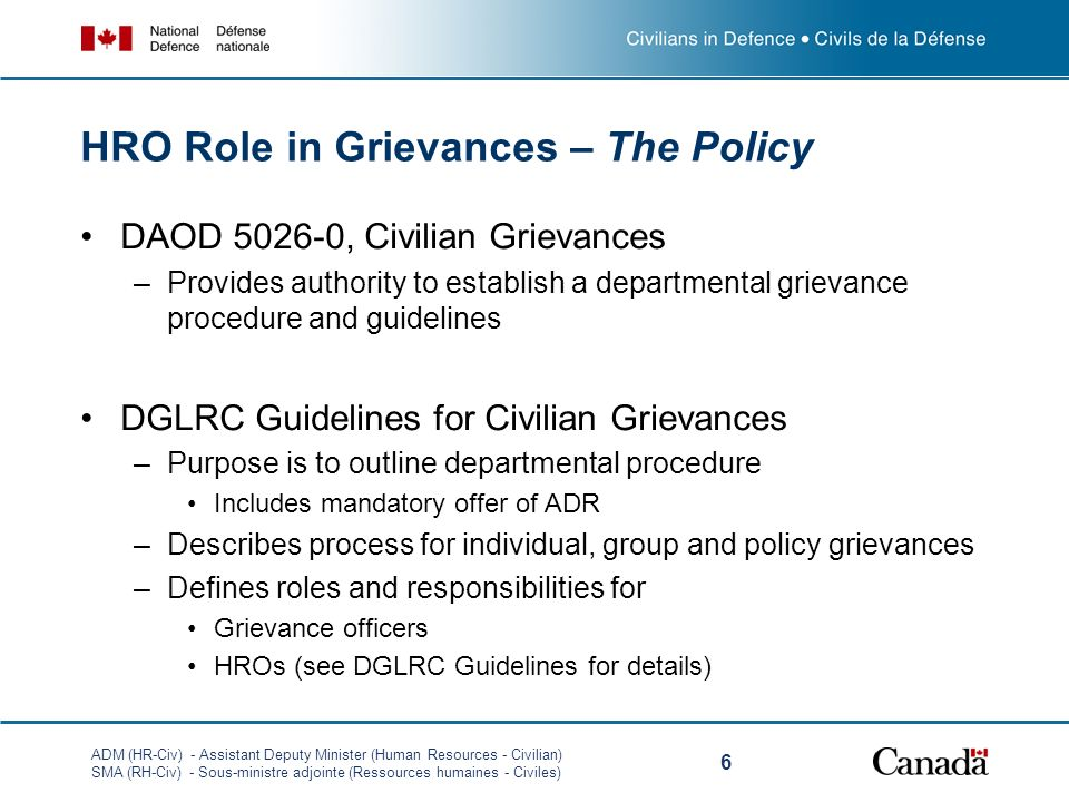 HRO Role in Grievances – The Policy