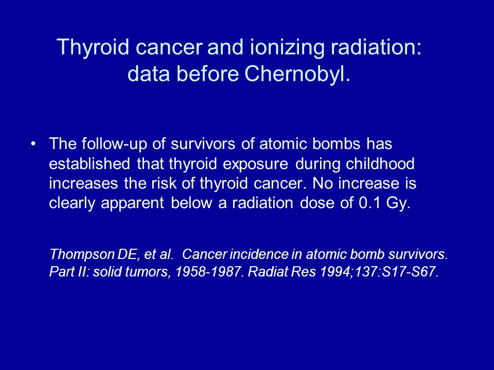 Thyroid cancer and ionizing radiation: data before Chernobyl.