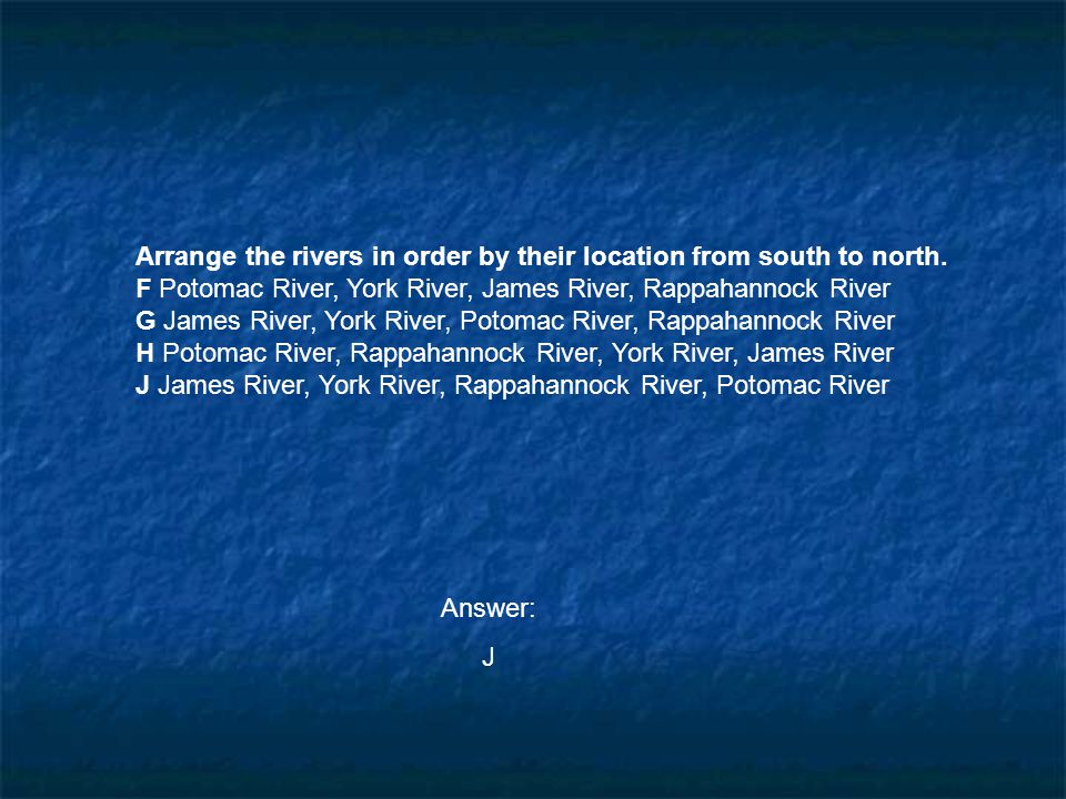 Arrange the rivers in order by their location from south to north.