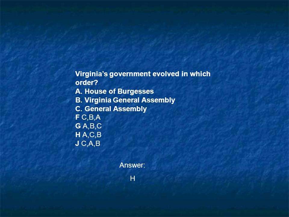 Virginia's government evolved in which order